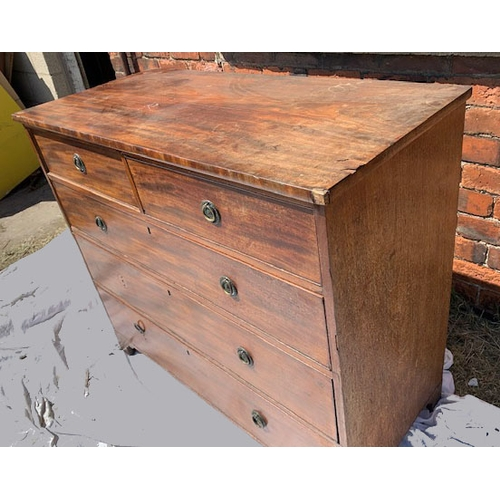 597 - Victorian mahogany 4-ht chest of drawers of 2 short drawers over 3 long drawers, 42