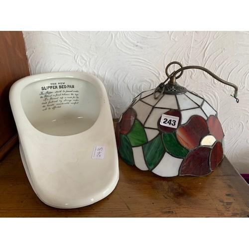 243 - White slipper pan and modern leaded effect light fitting
