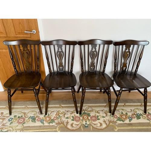 503 - Retro set of 4 dark oak dining chairs