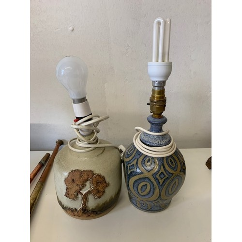 298 - 2 pottery table lamps