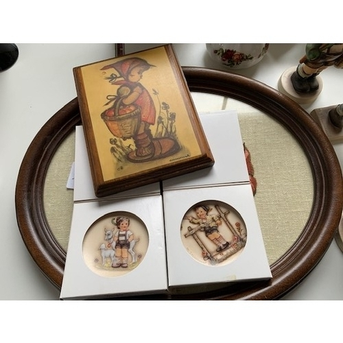 44 - 4 Goebel 'MJ Hummel' figures, tapestry plaque and 2 small plates (8)