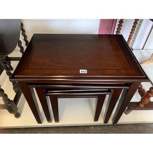 433 - Modern Inlaid mahogany nest of table