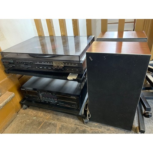 493A - Bang & Olufsen Beocenter 1800 Record Player and stand t/w 2 Beovox speakers and Kenwood KXW8010 doub...