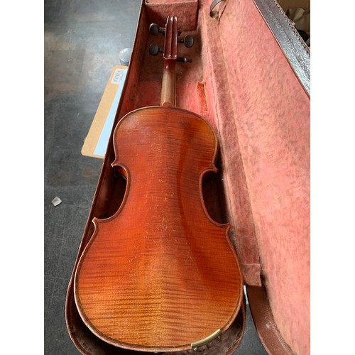 459 - 13'' Violin & bow in case (A/F), violin case leather and impressed