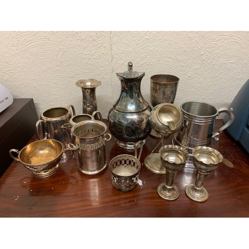 149C - Miscellaneous EPNS wares including coffee pot and rifle-mounted ashtray