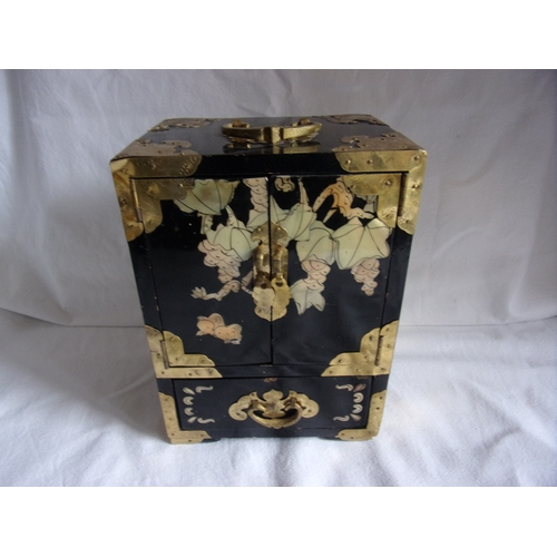 Asian jewellery box with brass mounts and mother of pearl inlay
