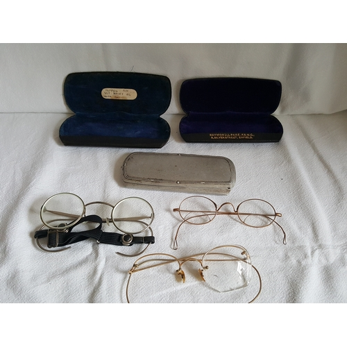 10 - Group of antique glasses & cases...