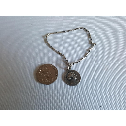 33 - 925 silver bracelet with HM silver coin...