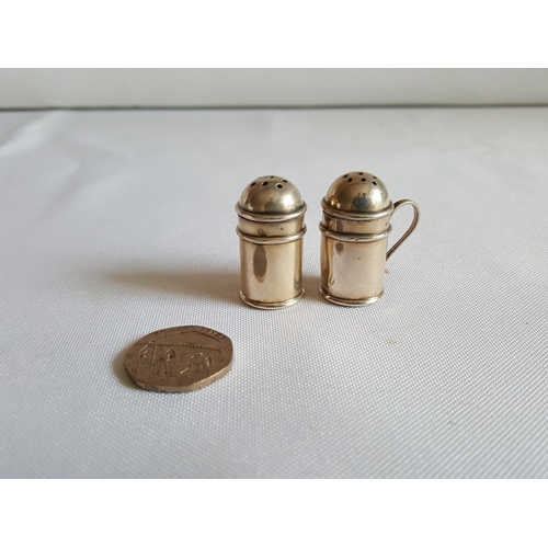 10 - HM silver mini salt & pepper Chester c1905...