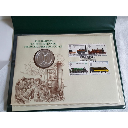 13 - Railway 1st day cover with sterling silver coin...