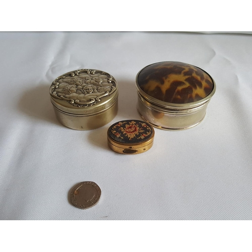 23 - 3 small lidded pots...