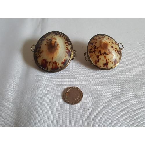 24 - 2 vintage shell pill pots...