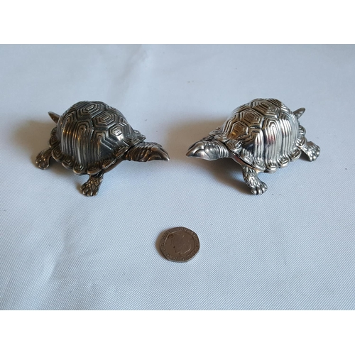 19 - pair of silver plated tortoise dishes/salts...