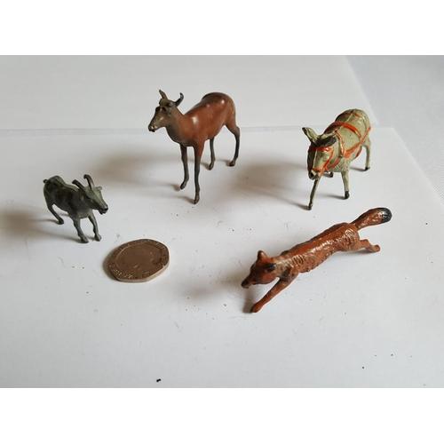 23 - vintage lead goat deer donkey & fox...