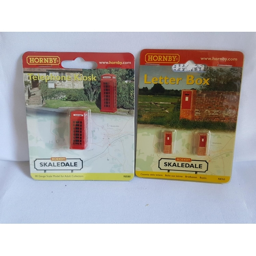 30 - Hornby 00 scale phone box & 2 letter boxes...