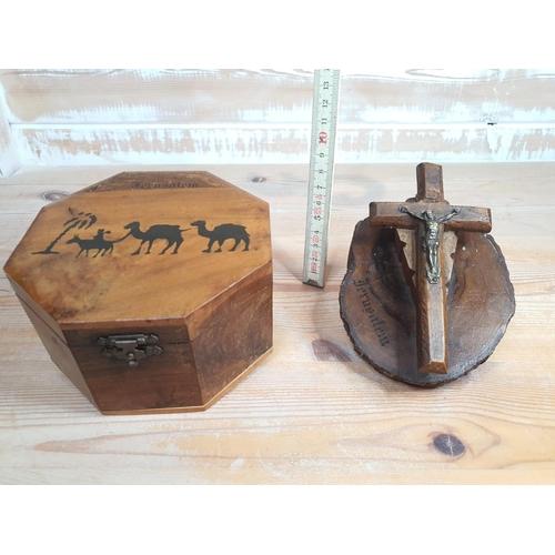 42 - 2 Jerusalem olive wood souvenirs...