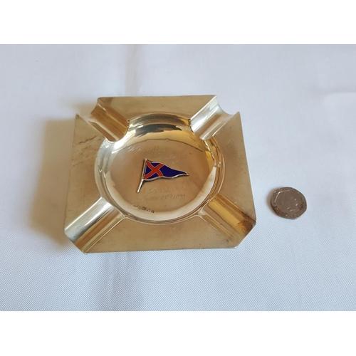 50 - HM silver ashtray with enamel flag - c1932...