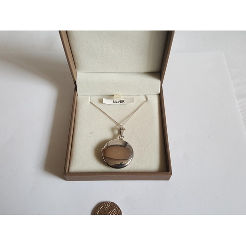 59 - Silver chain & locket with box...