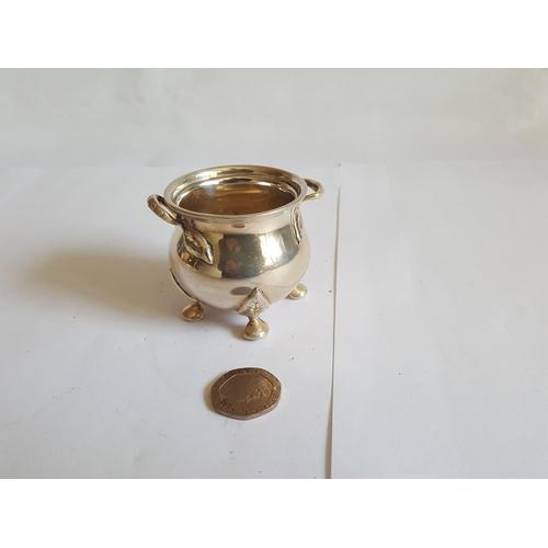 1 - HM silver heavy caldron shaped pot c1935...