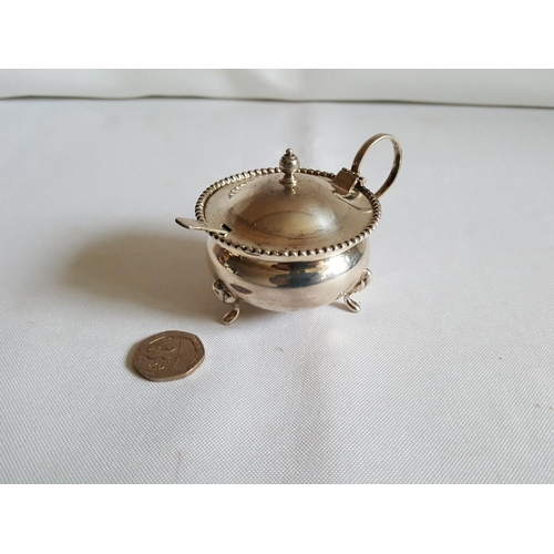 27 - sterling silver mustard pot with spoon...