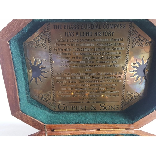 39 - reproduction brass sundial boxed...