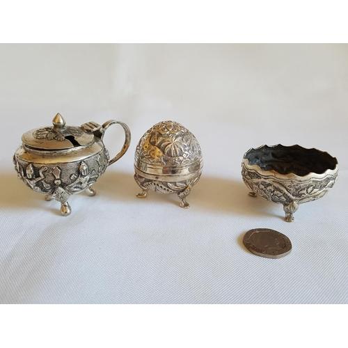 4 - Indian silver cruet set...
