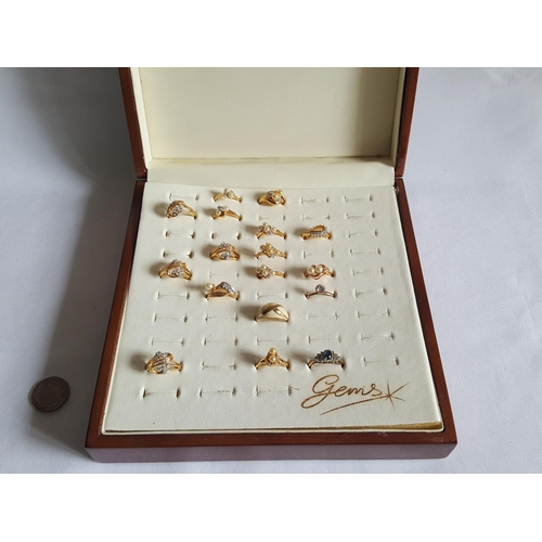 12 - 17 gold plated rings in box...