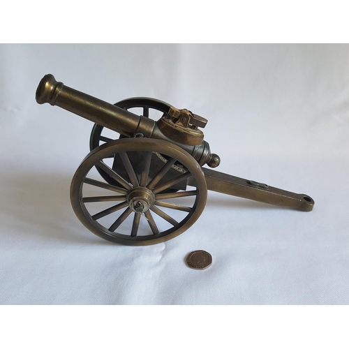 18 - large brass cannon table lighter...