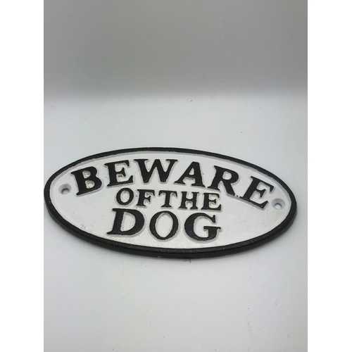 40 - cast iron Beware of the Dog sign...