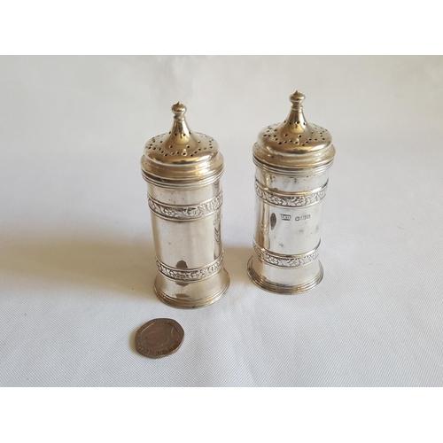 51 - pair HM silver peppers by Roberts & Belk c1907...