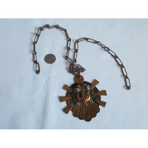 60 - Inca brass & copper necklace...