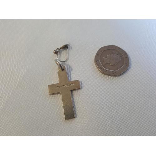 21 - sterling silver cross & loose earring