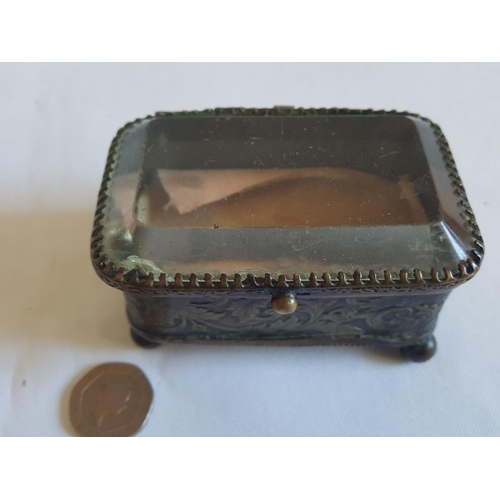 44 - vintage brass ring box small chip to glass