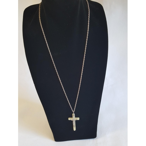 58 - 925 silver chain & pendant mother of pearl cross