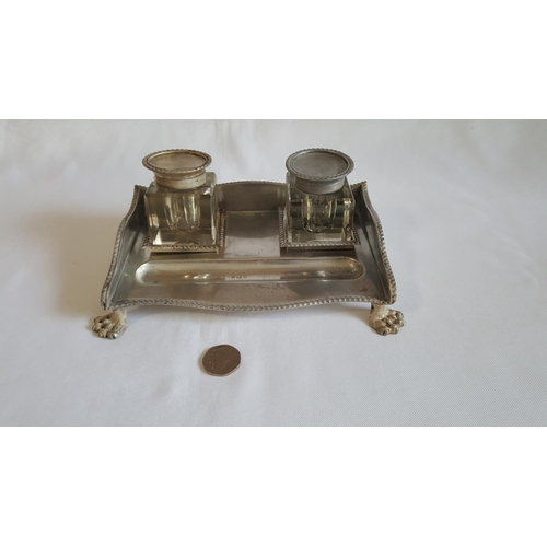 21 - HM silver double inkwell silver weight 270g needs some repair c1910