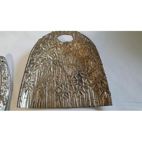 48 - Japanese white metal crumb pan & brush