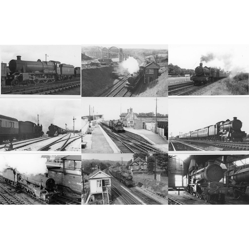 20 - Railway black & white postcard size prints, approx. 100. A selection of GWR/BR (WR) 4-6-0`s mainly p...