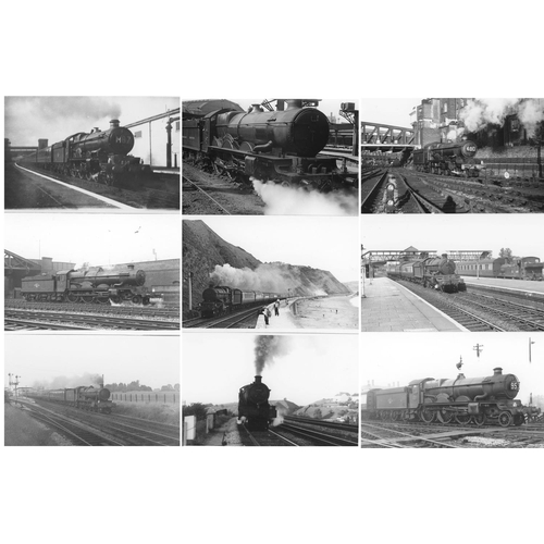 21 - Railway black & white postcard size prints, approx. 80. A selection of GWR/BR (WR) 4-6-0`s mainly po...