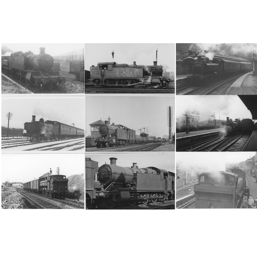 22 - Railway black & white postcard size prints, approx. 100. A selection of GWR/BR (WR) tank engines mai...