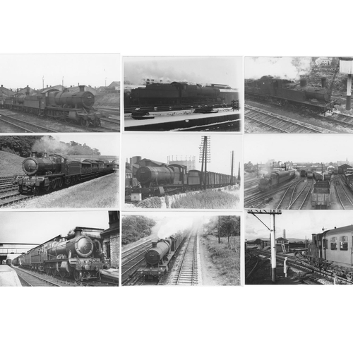 24 - Railway black & white postcard size prints, approx. 90. A selection of GWR/BR (WR) tender locos, 0-6...
