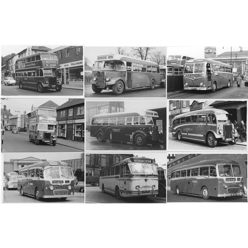 26 - Bus black & white postcard size prints, quantity 50. Vintage buses comprising 35 Barton dating from ...