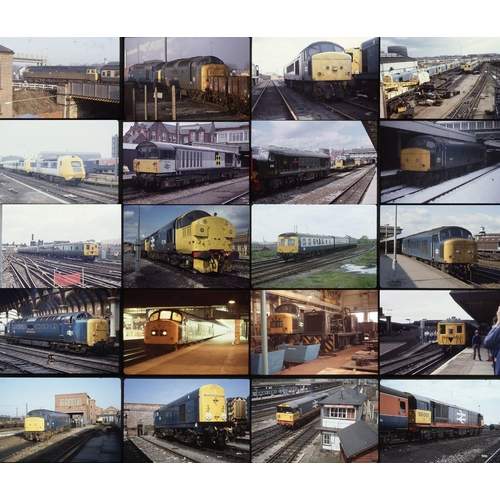 32 - Railway colour slides, 35mm approx. 200 on mixed film stock. Derby works features again with photos ...