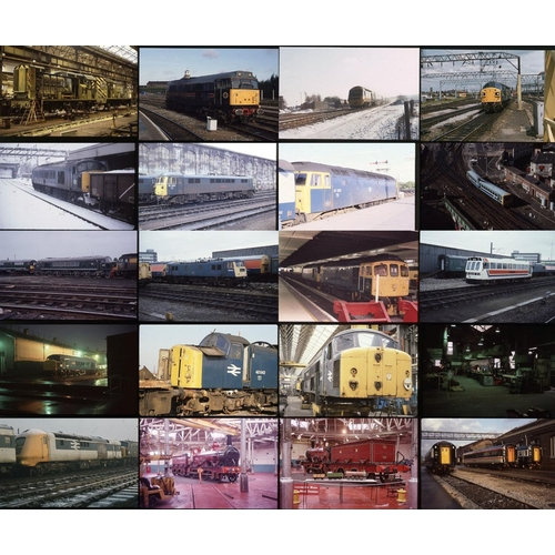 33 - Railway colour slides, 35mm approx. 200 on mixed film stock. Derby works features again with photos ...