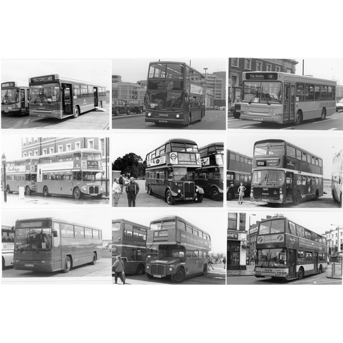42 - U.K.Bus, Black & White ( a few colour noted) postcard size prints, approx. 200. A good record of bus...