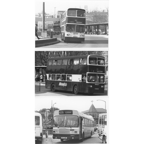 43 - U.K.Bus, Black & White ( a few colour noted) postcard size prints, approx. 200. A good record of bus...