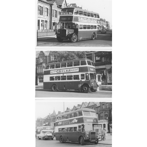 45 - U.K.Bus, Black & White ( a few colour noted) postcard size prints, approx. 200. A good record of bus...