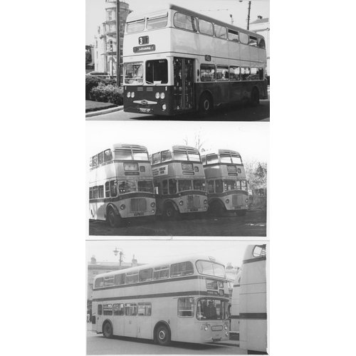 46 - U.K.Bus, Black & White & colour postcard size prints, approx. 200. A good record of bus types in the...