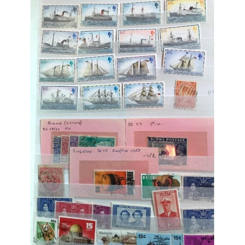 14 - Blue stockbook of British Commonwealth, bulging with wide range of countries & periods spread over 6...