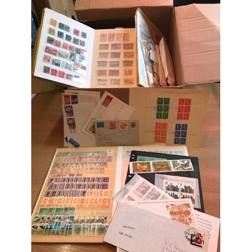 31 - Commonwealth - Very large glory box of stockcards, pages, loose, on & off paper, covers, etc. Many 1...