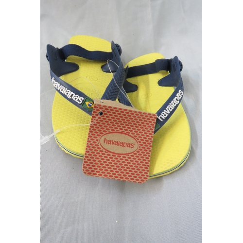 10 - Brand New Kids Authentic Havaianas in Yellow - Size Infant EUR 22/UK 5...